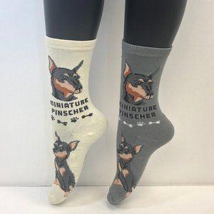 2 PAIRS Foozys Women's Socks Miniature Pinscher
